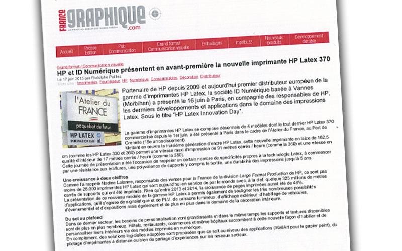 HP et Id Numérique, imprimante HP Latex 370