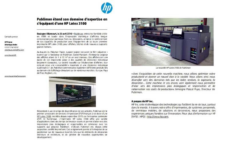 Communique de presse HP - Publiman renforce ses capacités de production
