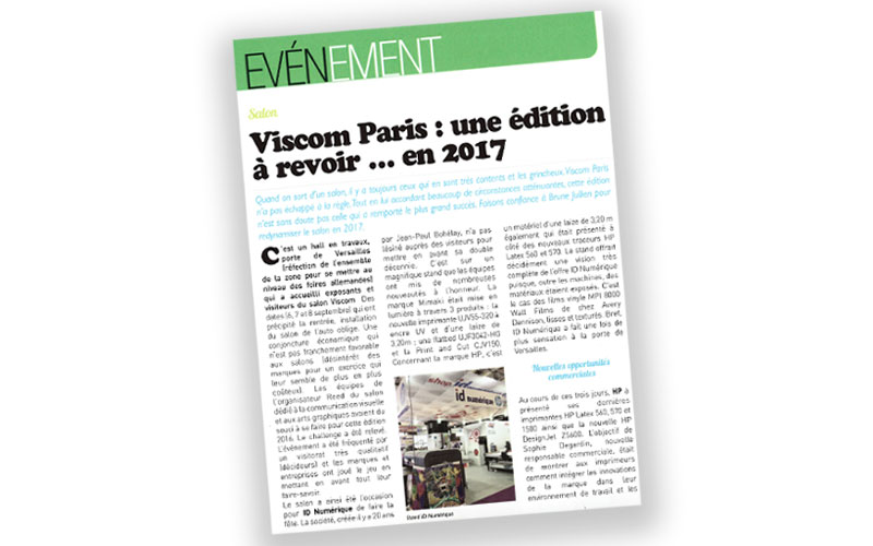 Viscom Paris 2016 - Article Signal Etiq